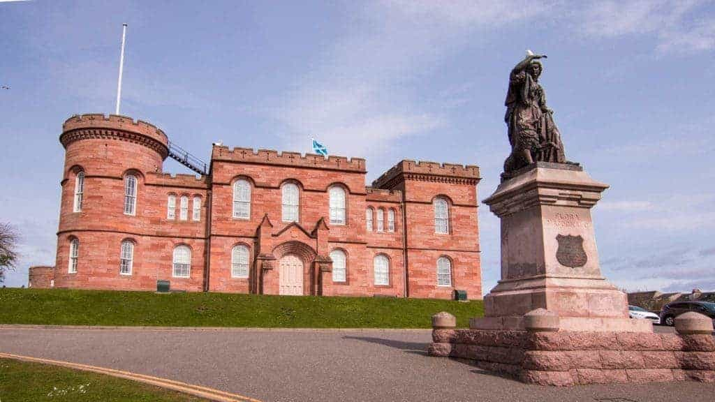 Inverness Castle and Flora MacDonald searching for Bonnie Prince Charlie