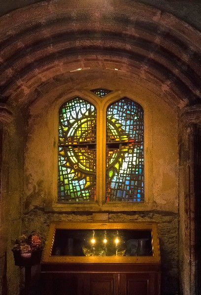 The Fiery Cross Stained Glass window at Culross Abbey